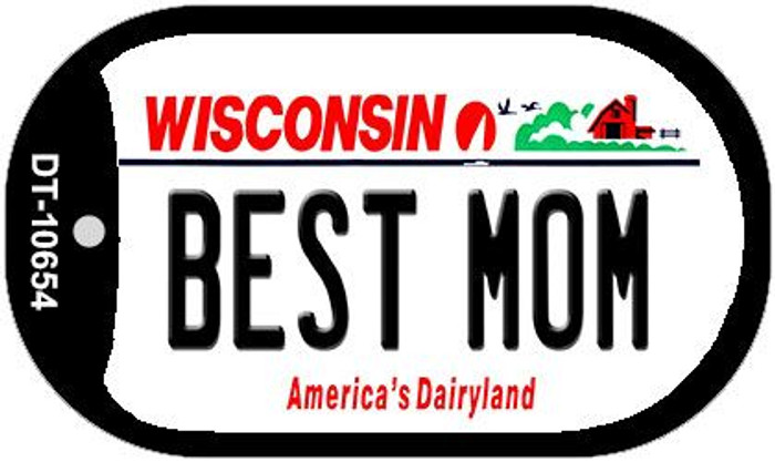 Best Mom Wisconsin Novelty Metal Dog Tag Necklace DT-10654