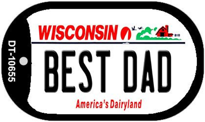 Best Dad Wisconsin Novelty Metal Dog Tag Necklace DT-10655