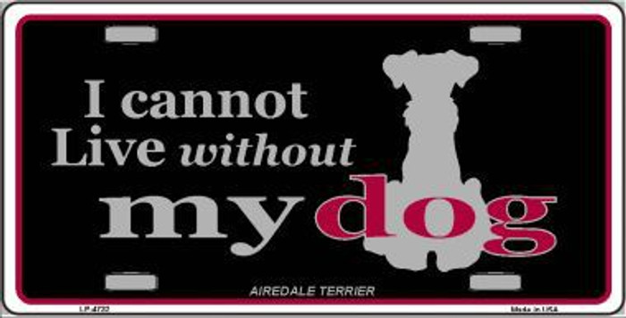 Airedale Terrier Metal Novelty License Plate