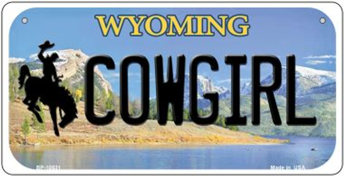 Cowgirl Wyoming Novelty Metal Bicycle Plate BP-10531
