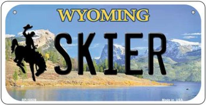 Skier Wyoming Novelty Metal Bicycle Plate BP-10539