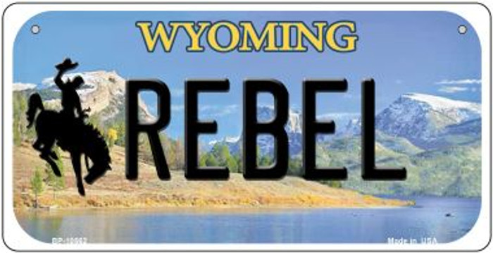 Rebel Wyoming Novelty Metal Bicycle Plate BP-10562