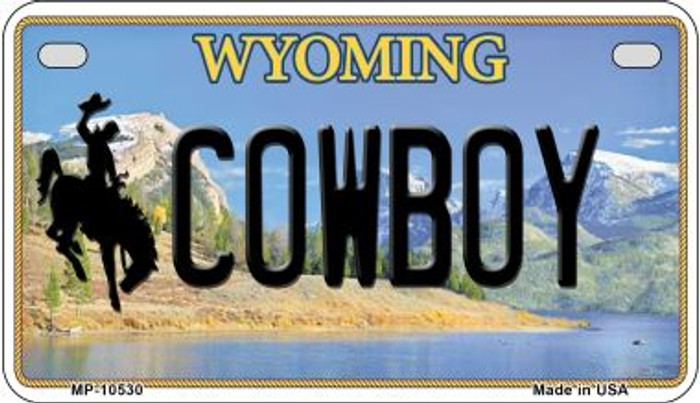 Cowboy Wyoming Novelty Metal Motorcycle Plate MP-10530