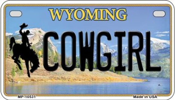 Cowgirl Wyoming Novelty Metal Motorcycle Plate MP-10531