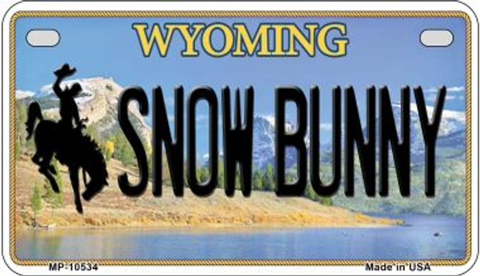 Snow Bunny Wyoming Novelty Metal Motorcycle Plate MP-10534
