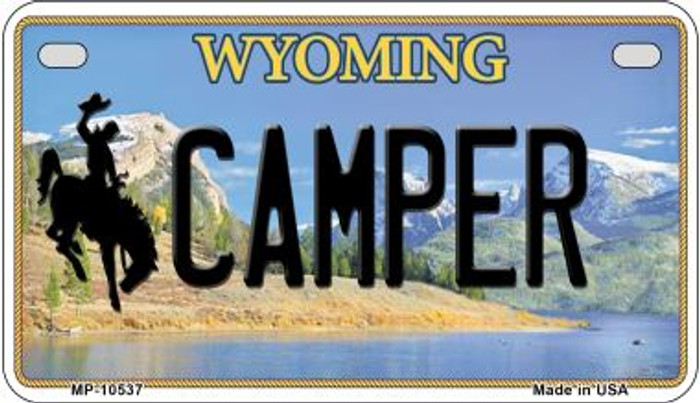 Camper Wyoming Novelty Metal Motorcycle Plate MP-10537