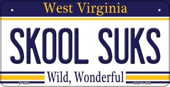 Skool Suks West Virginia Novelty Metal Bicycle Plate BP-6529