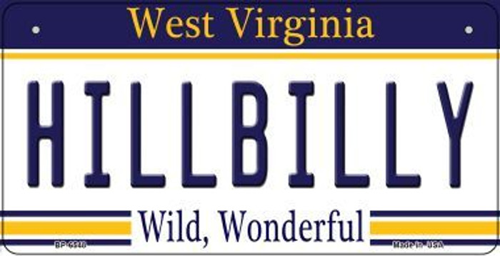 Hillbilly West Virginia Novelty Metal Bicycle Plate BP-6548