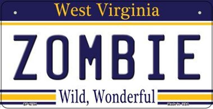 Zombie West Virginia Novelty Metal Bicycle Plate BP-6754
