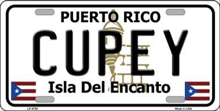 Cupey Puerto Rico Metal Novelty License Plate LP-4750