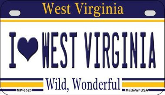 I Love West Virginia Novelty Metal Motorcycle Plate MP-6520