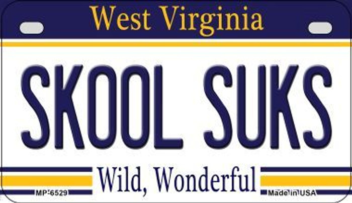 Skool Suks West Virginia Novelty Metal Motorcycle Plate MP-6529