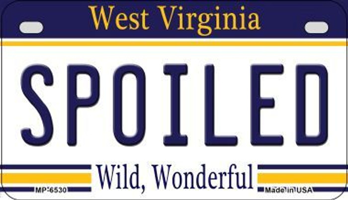 Spoiled West Virginia Novelty Metal Motorcycle Plate MP-6530