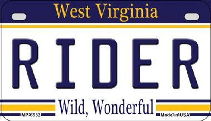 Rider West Virginia Novelty Metal Motorcycle Plate MP-6532