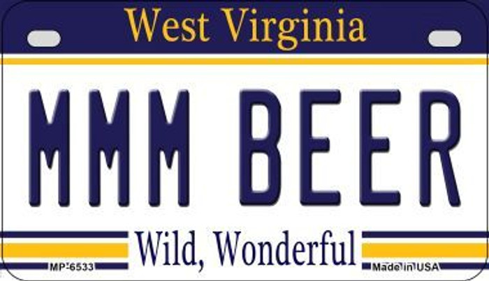 MMM Beer West Virginia Novelty Metal Motorcycle Plate MP-6533