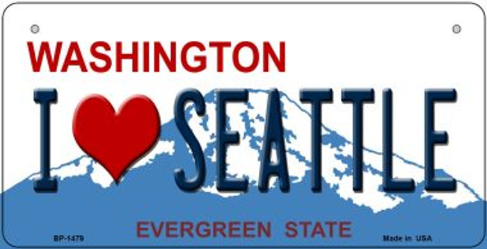 I Love Seattle Washington Novelty Metal Bicycle Plate BP-1479
