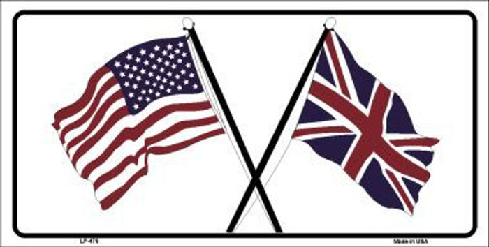 United States Britain Crossed Flags Novelty License Plate LP-476