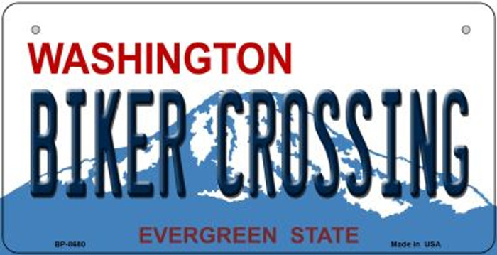 Biker Crossing Washington Novelty Metal Bicycle Plate BP-8680