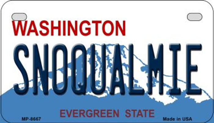 Snoqualmie Washington Novelty Metal Motorcycle Plate MP-8667