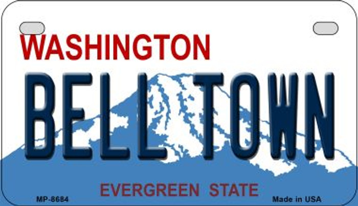 Bell Town Washington Novelty Metal Motorcycle Plate MP-8684