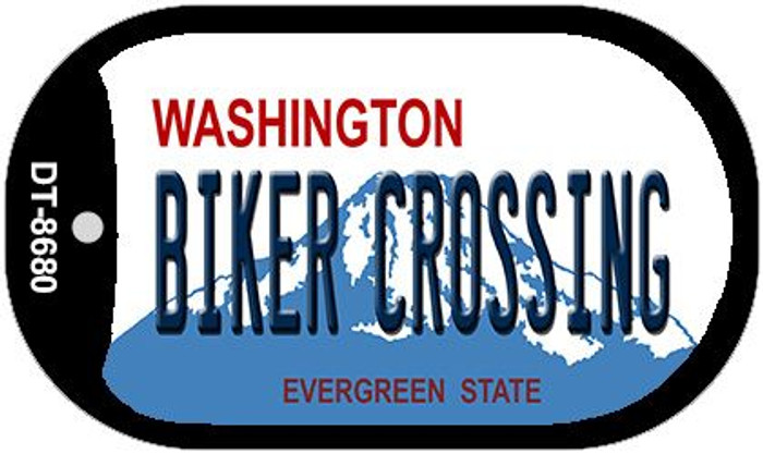 Biker Crossing Washington Novelty Metal Dog Tag Necklace DT-8680