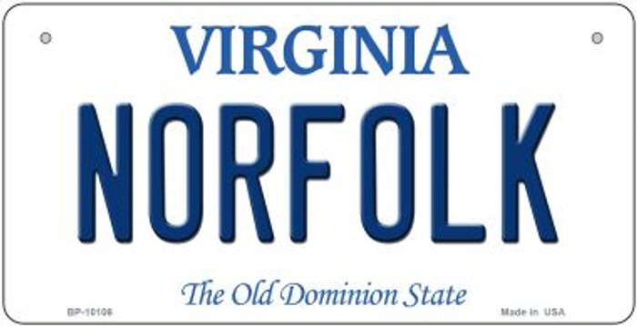 Norfolk Virginia Novelty Metal Bicycle Plate BP-10106