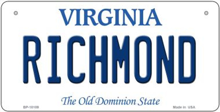 Richmond Virginia Novelty Metal Bicycle Plate BP-10109