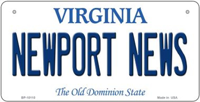 Newport News Virginia Novelty Metal Bicycle Plate BP-10110