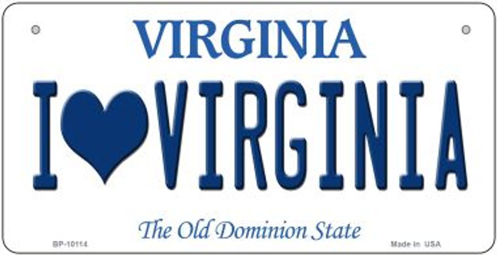 I Love Virginia Novelty Metal Bicycle Plate BP-10114