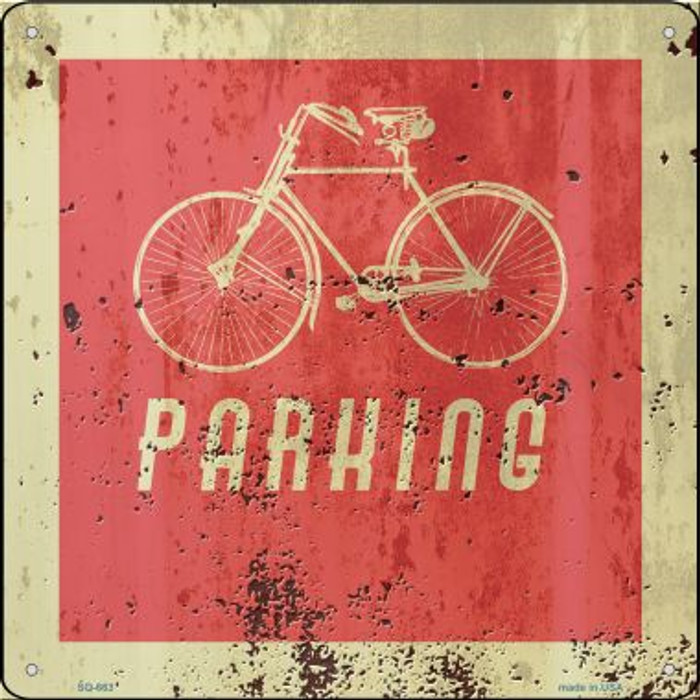 Bicycle Parking Novelty Metal Square Sign SQ-663