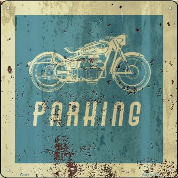 Motorcycle Parking Novelty Metal Square Sign SQ-664