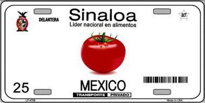 Sinaloa Mexico Novelty Background Metal License Plate LP-4790
