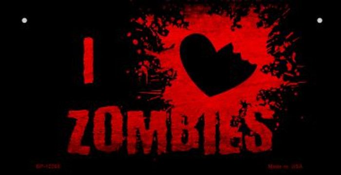 I Love Zombies Novelty Metal Bicycle Plate BP-12265
