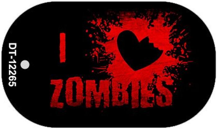 I Love Zombies Novelty Metal Dog Tag Necklace DT-12265
