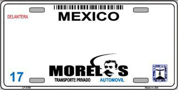 Morelos Mexico Novelty Background Metal License Plate LP-4795