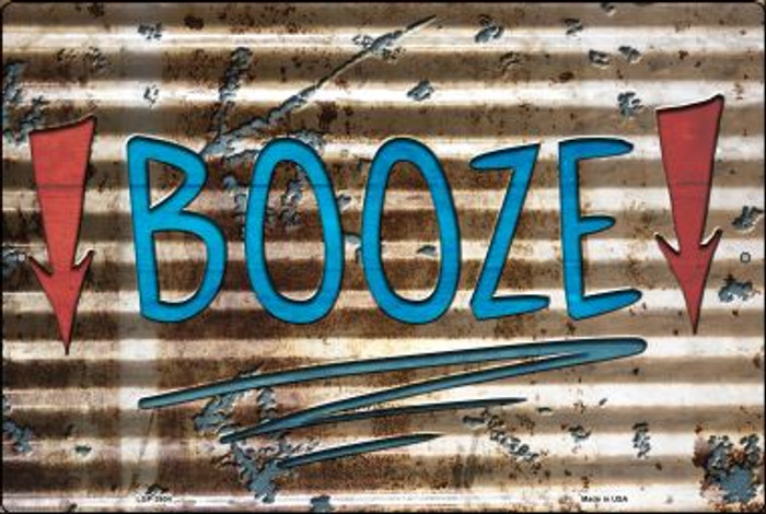 Booze Here Novelty Metal Large Parking Sign LGP-2604