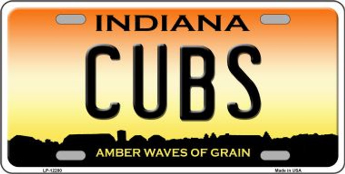 Cubs Indiana Novelty Metal License Plate LP-12280