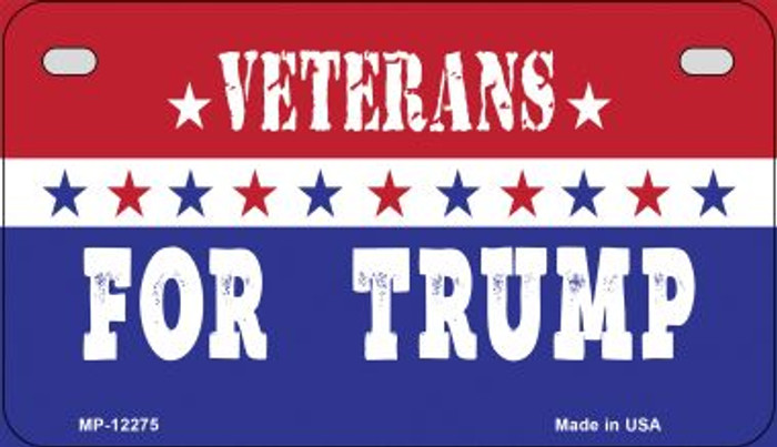 Veterans For Trump Novelty Metal Motorcycle Plate MP-12275