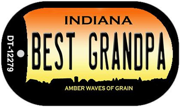 Best Grandpa Indiana Novelty Metal Dog Tag Necklace DT-12279