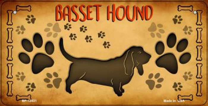 Basset Hound Novelty Metal Bicycle Plate BP-10431
