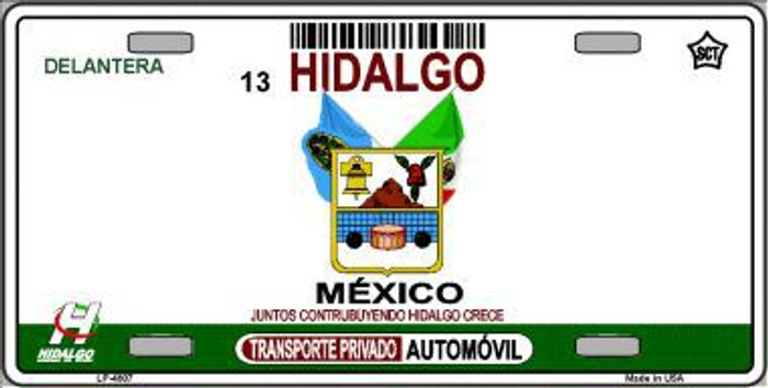Hidalgo Mexico Novelty Background Metal License Plate LP-4807