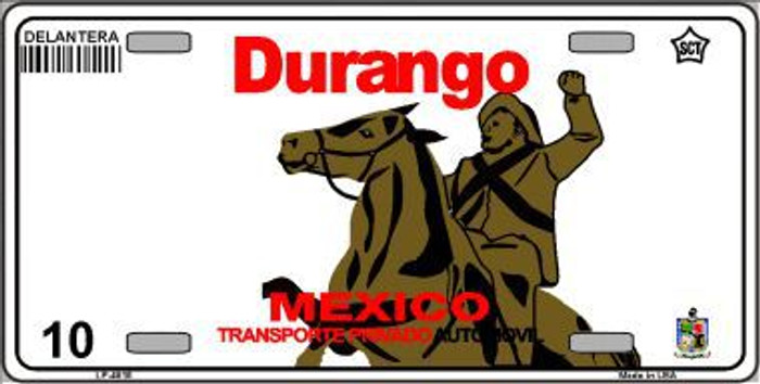 Durango Mexico Novelty Background Metal License Plate LP-4815