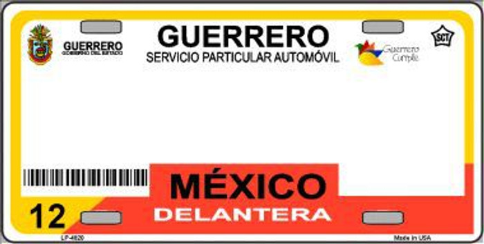 Guerrero Mexico Novelty Background Metal License Plate LP-4820