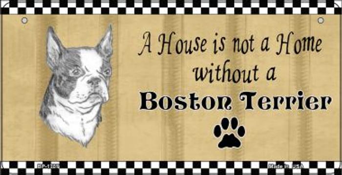Boston Terrier Pencil Sketch Novelty Metal Bicycle Plate BP-1707