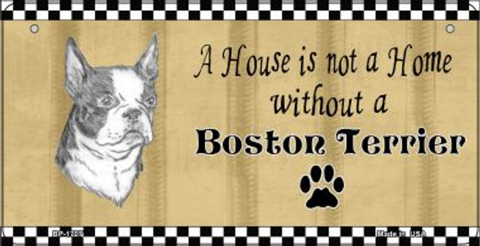 Boston Terrier Pencil Sketch Novelty Metal Bicycle Plate BP-1707