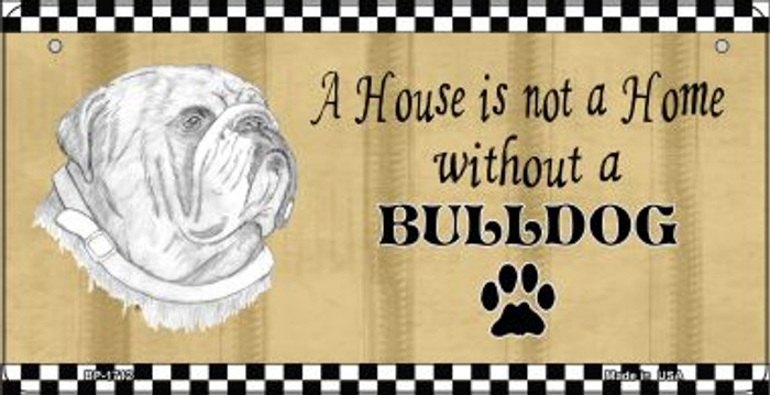 Bulldog Pencil Sketch Novelty Metal Bicycle Plate BP-1712