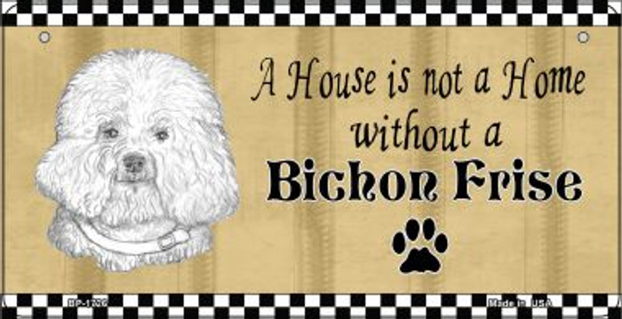Bichon Frise Pencil Sketch Novelty Metal Bicycle Plate BP-1726