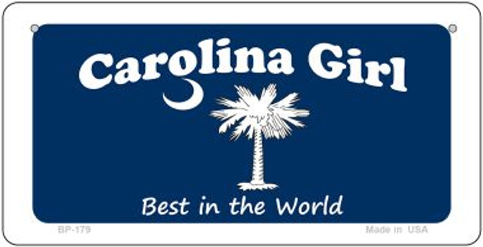 Carolina Girl Blue Flag Novelty Metal Bicycle Plate BP-179