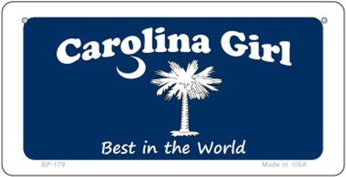 Carolina Girl Blue Flag Novelty Metal Bicycle Plate BP-179