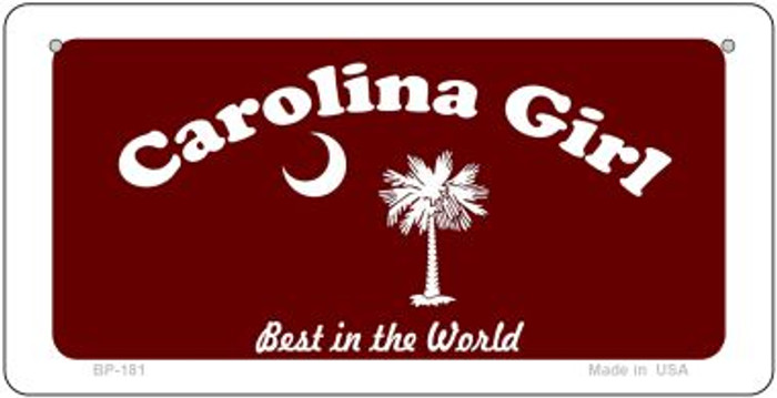 Carolina Girl Burgandy Flag Novelty Metal Bicycle Plate BP-181